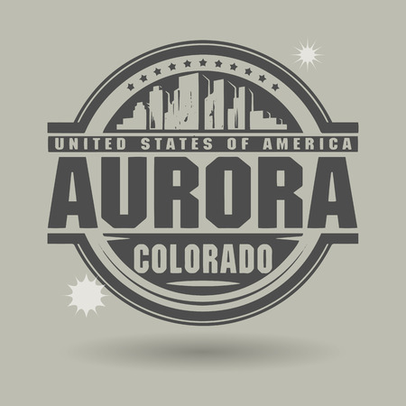 capital of colorado: Stamp or label with text Aurora, Colorado inside