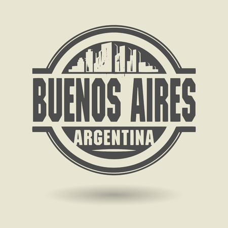 aires: Stamp or label with text Buenos Aires, Argentina inside Illustration