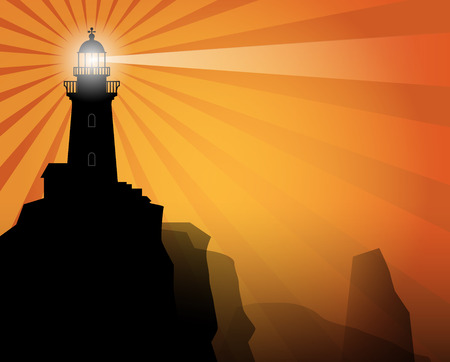 lighthouse beam: Lighthouse silhouette on abstract background