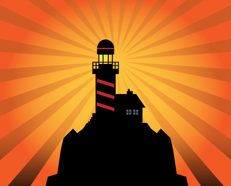 Lighthouse silhouette on abstract background Vector