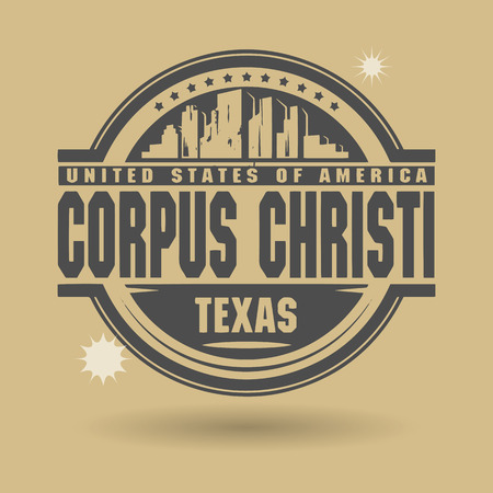 corpus: Stamp or label with text Corpus Christi, Texas inside Illustration