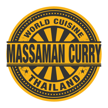 curry: Abstract stamp or label with the text World Cuisine, Massaman Curry written inside