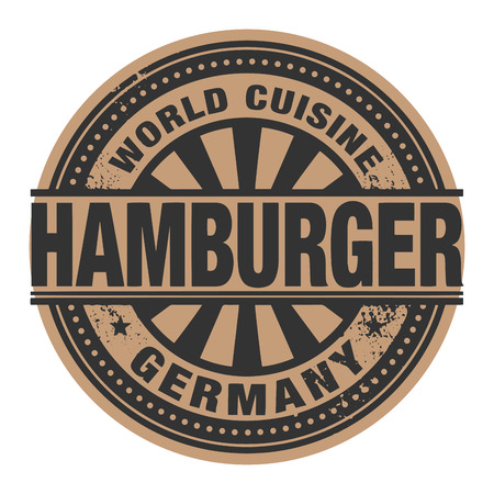 Abstract stamp or label with the text World Cuisine, Hamburger written inside Vector