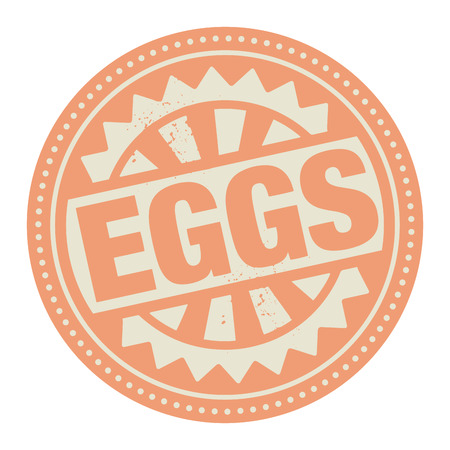 notify: Abstract stamp or label with the text Eggs written inside