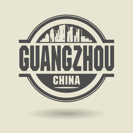 Stamp or label with text Guangzhou, China inside Vector