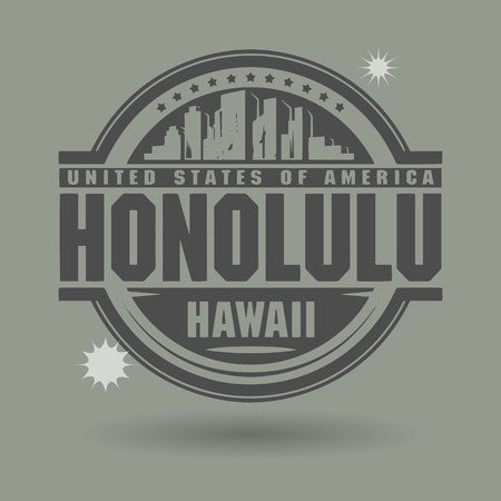 Stamp or label with text Honolulu, Hawaii inside Vector
