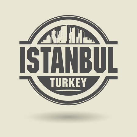 Stamp or label with text Istanbul, Turkey inside Vector