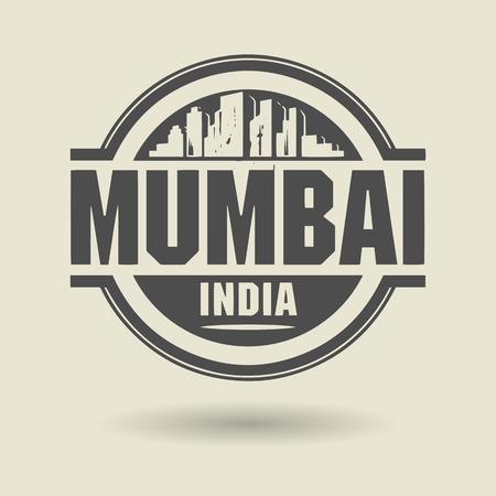 mumbai: Stamp or label with text Mumbai, India inside