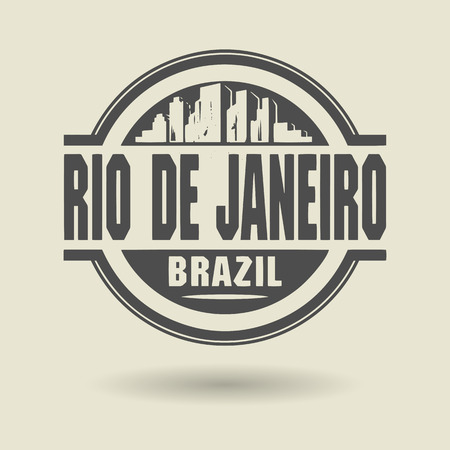 Stamp or label with text Rio de Janeiro, Brazil inside Vector