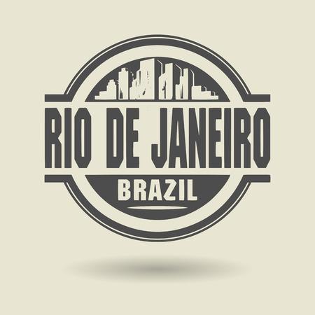 janeiro: Stamp or label with text Rio de Janeiro, Brazil inside