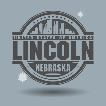 lincoln: Stamp or label with text Lincoln, Nebraska inside Illustration
