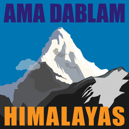 Mount Ama Dablam  Mothers necklace  - peak in the Himalayas, Nepal  Mountain adventure background Vector