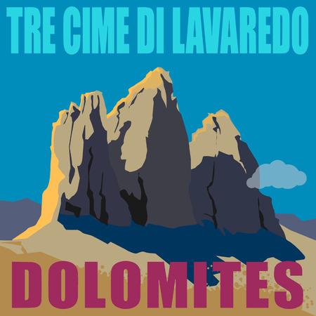 Mount Three Peaks  Tre Cime di Lavaredo  - peaks in the Dolomites of northeastern Italy  Mountain adventure background