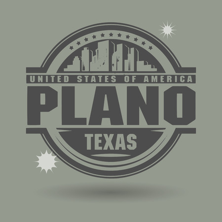 plano: Stamp or label with text Plano, Texas inside