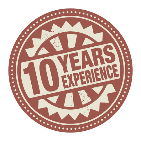 Abstract stamp or label with the text 10 years experience written inside Vector