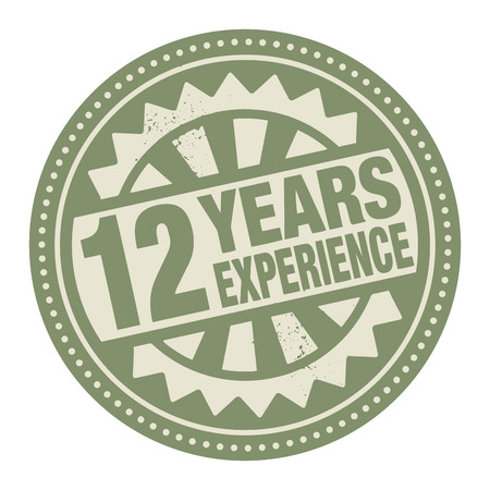 Abstract stamp or label with the text 12 years experience written inside Vector