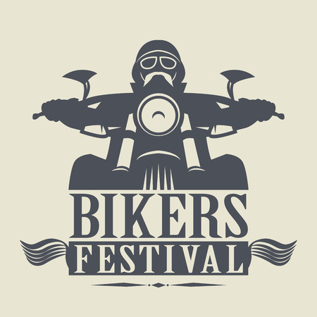 motorcycle rider: Stamp or label with the words Bikers Festival inside