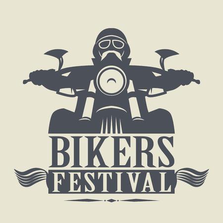 Stempel oder Aufkleber mit den Worten Bikers Festival innen Illustration