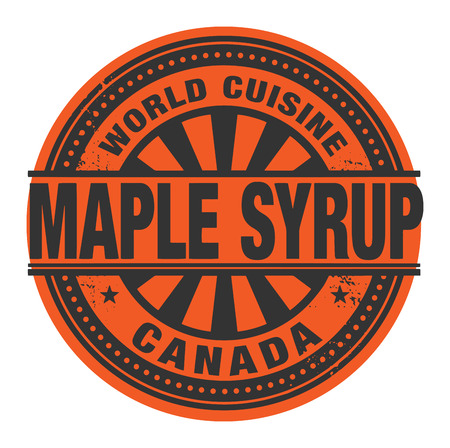canada stamp: Abstract stamp or label with the text World Cuisine, Maple Syrup written inside