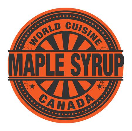 maple syrup: Sello Abstract o etiqueta con el texto World Cuisine, jarabe de arce por escrito dentro Vectores