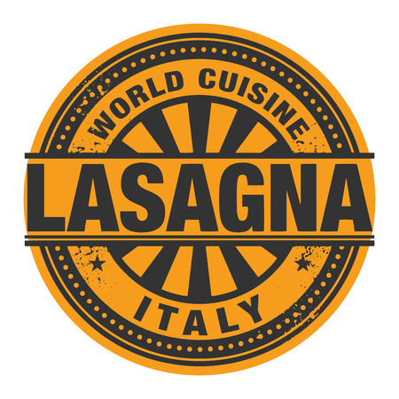 lasagna: Abstract stamp or label with the text World Cuisine, Lasagna written inside