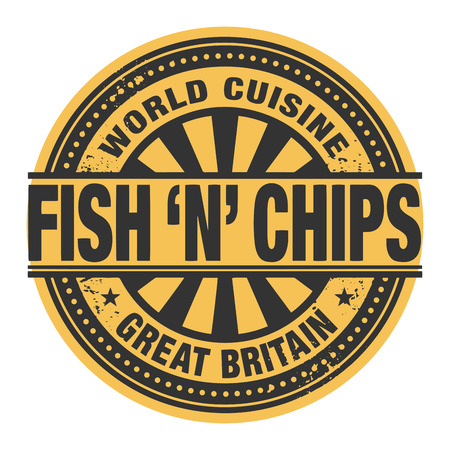 fish and chips: Abstract stamp or label with the text World Cuisine, Fish and chips written inside Illustration