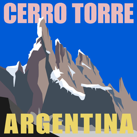 Mount Cerro Torre - peak in the Argentina, Andes  Mountain adventure background Vector