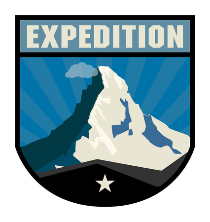 Mountain adventure label Vector