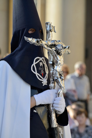 crucis: ZARAGOZA, SPAIN - APR 18, Unidentified people in the Good Friday procession, April 18, 2014 in the Zaragoza  Saragossa , community of Aragon, Spain