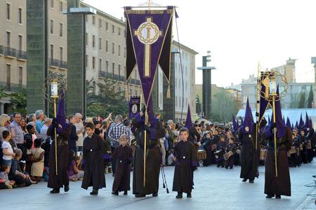 ZARAGOZA, SPAIN - APR 18, Unidentified people in the Good Friday procession, April 18, 2014 in the Zaragoza  Saragossa , community of Aragon, Spain