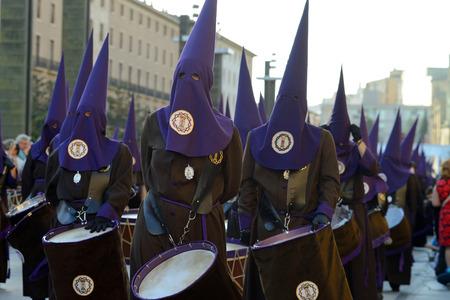 semana: ZARAGOZA, SPAIN - APR 18, Unidentified people in the Good Friday procession, April 18, 2014 in the Zaragoza  Saragossa , community of Aragon, Spain
