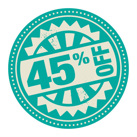 selling off: Abstract stamp or label with the text 45 percent off written inside