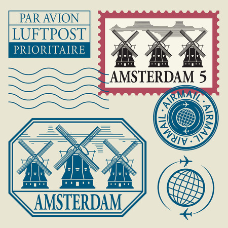 Stamps set with word Amsterdam inside Vector