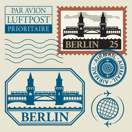 Stamps set with word Berlin inside Vector