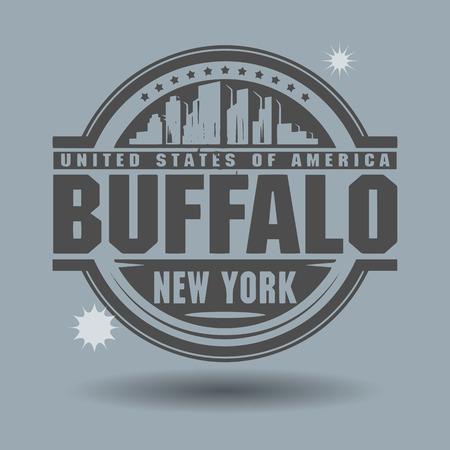 Sello o etiqueta con el texto de Buffalo, Nueva York en el interior