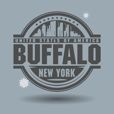 buffalo: Stamp or label with text Buffalo, New York inside
