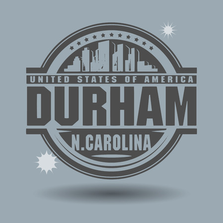 durham: Stamp or label with text Durham, North Carolina inside