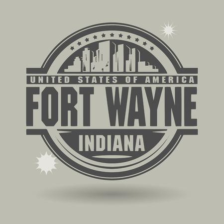 Stempel of het etiket met tekst Fort Wayne, Indiana binnenkant Stock Illustratie
