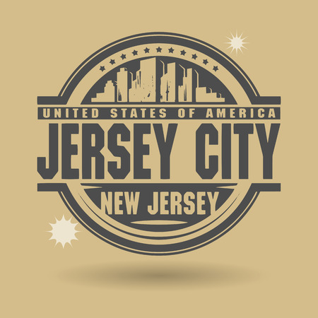jersey city: Stamp or label with text Jersey City, New Jersey inside