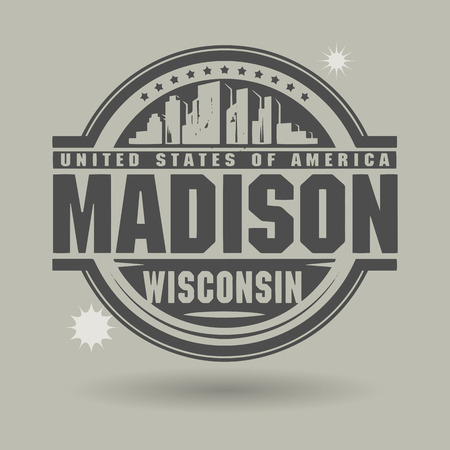 usa stamp: Stamp or label with text Madison, Wisconsin inside