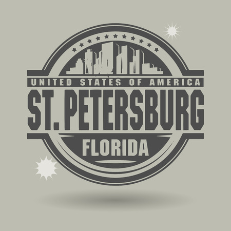 st petersburg: Stamp or label with text St  Petersburg, Florida inside Illustration
