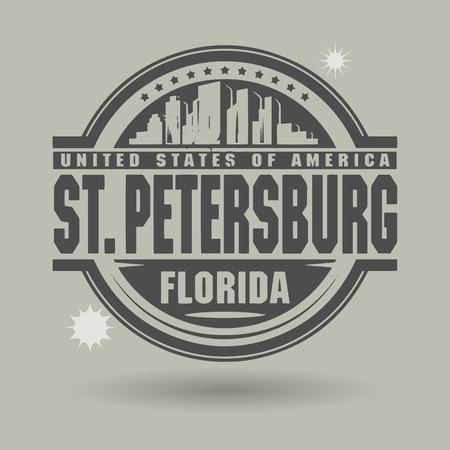 petersburg: Stamp or label with text St  Petersburg, Florida inside Illustration