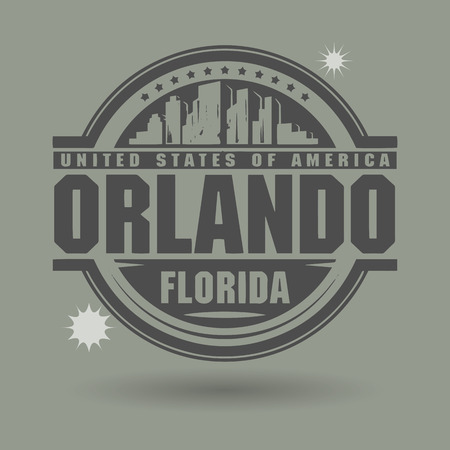 Stamp or label with text Orlando, Florida inside Vector