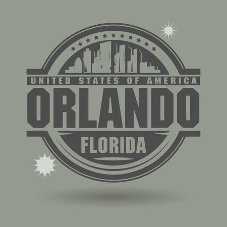 orlando: Stamp or label with text Orlando, Florida inside