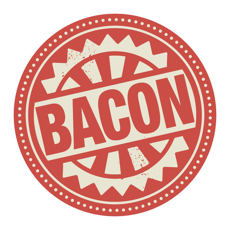 Abstract stamp or label with the text Bacon written inside Vector