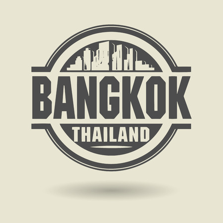 Stamp or label with text Bangkok, Thailand inside Vector