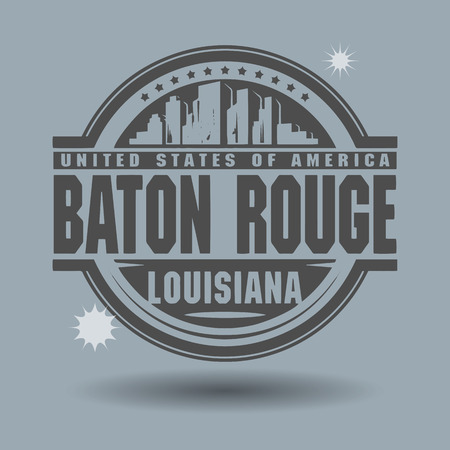 baton rouge: Stamp or label with text Baton Rouge, Louisiana inside Illustration