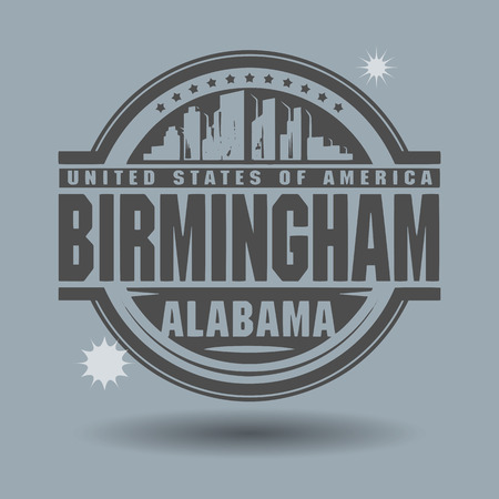 Stamp or label with text Birmingham, Alabama inside Vector
