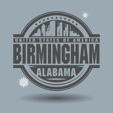 alabama: Stamp or label with text Birmingham, Alabama inside