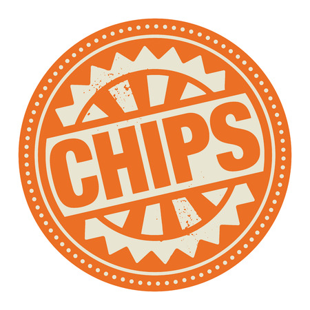 Abstract stamp or label with the text Chips written inside Vector